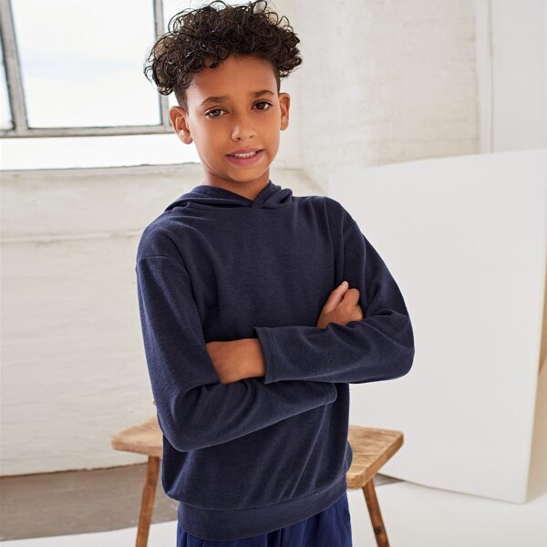 Boys Solid Hooded Sweatshirt, Navy blue