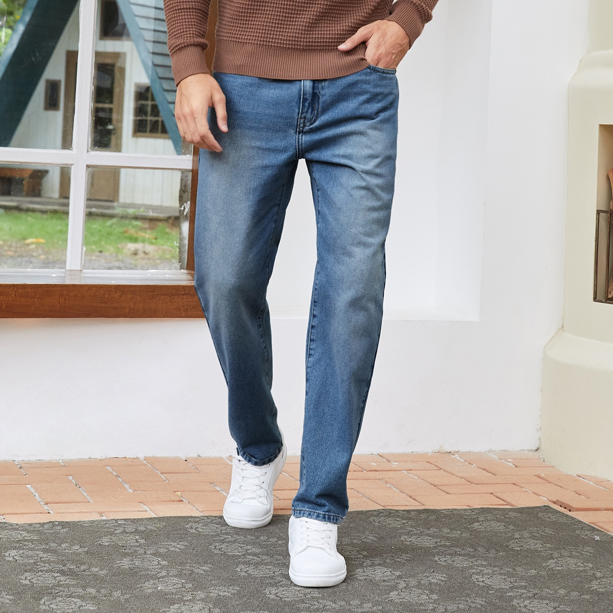 Men Pocket Detail Straight Leg Jeans, SHEIN  - buy with discount
