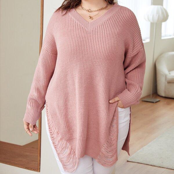 Plus V Neck Ripped Split Hem Drop Shoulder Sweater, Dusty pink
