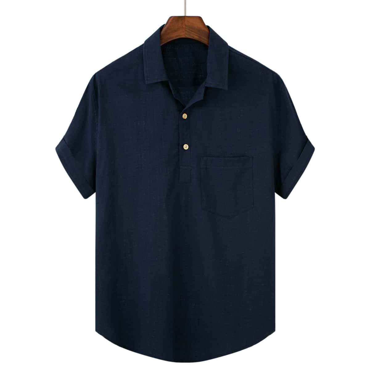 Мужской Рубашка заплатка карманом