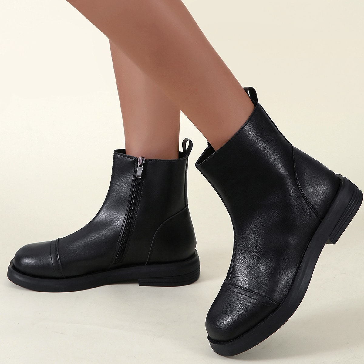 Minimalist Side Zipper Boots, SHEIN  - buy with discount
