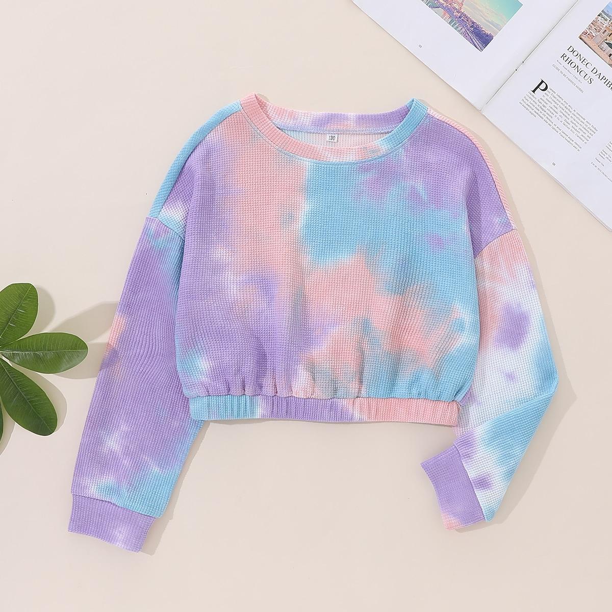 Girls Tie Dye Drop Shoulder Pullover