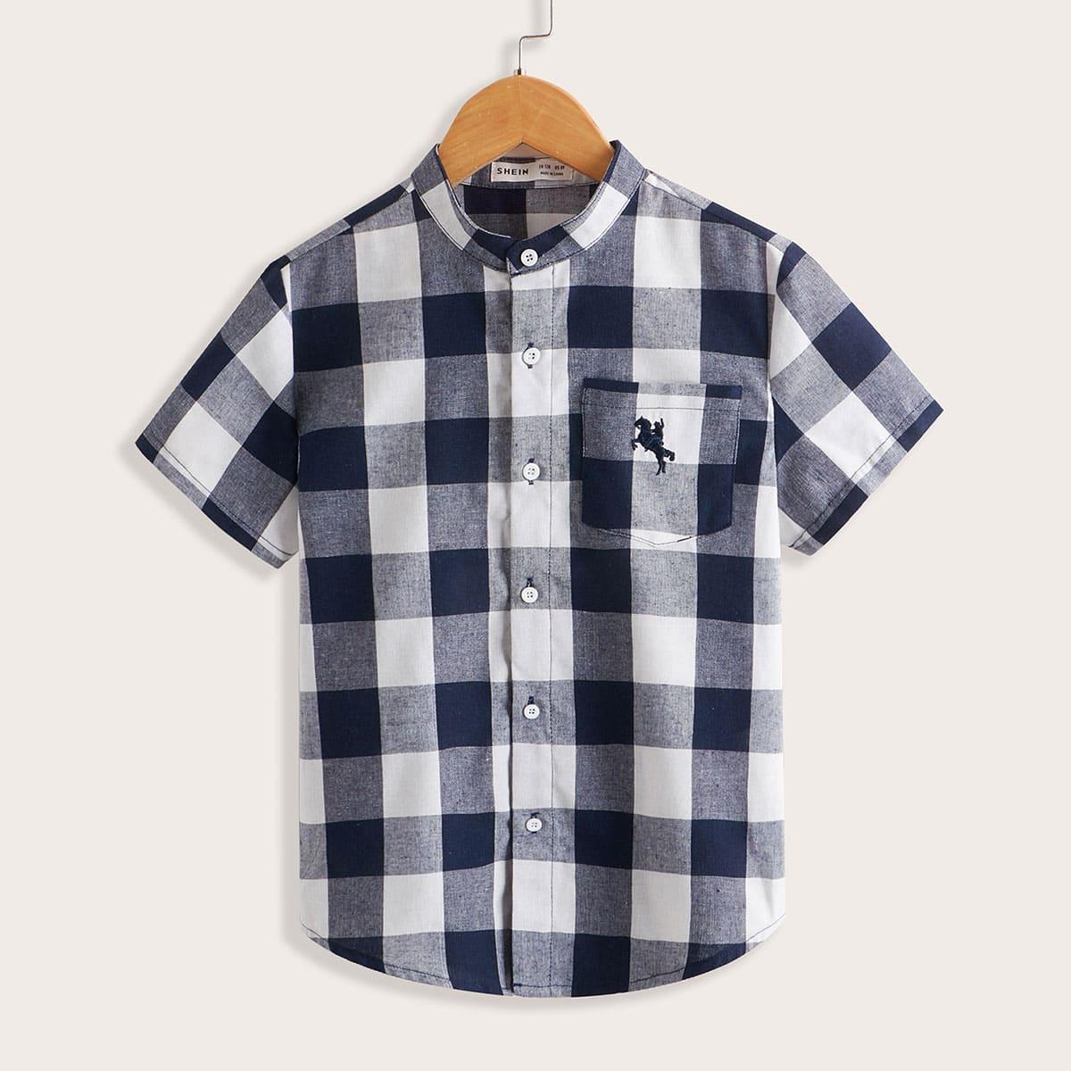 Рубашка с вышивкой и карманом в клетку для мальчиков
