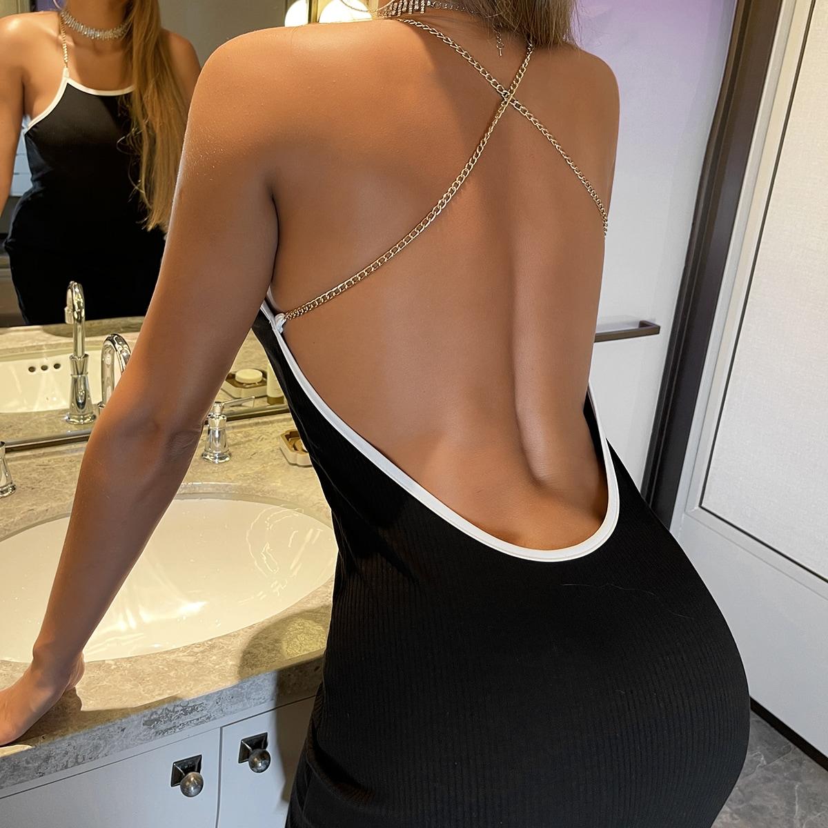 Платье с вырезом на спине SheIn sw2106232202855809