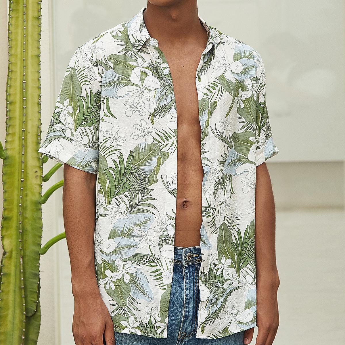 Мужская однобортная рубашка с тропическим принтом SheIn sm2107254332795101