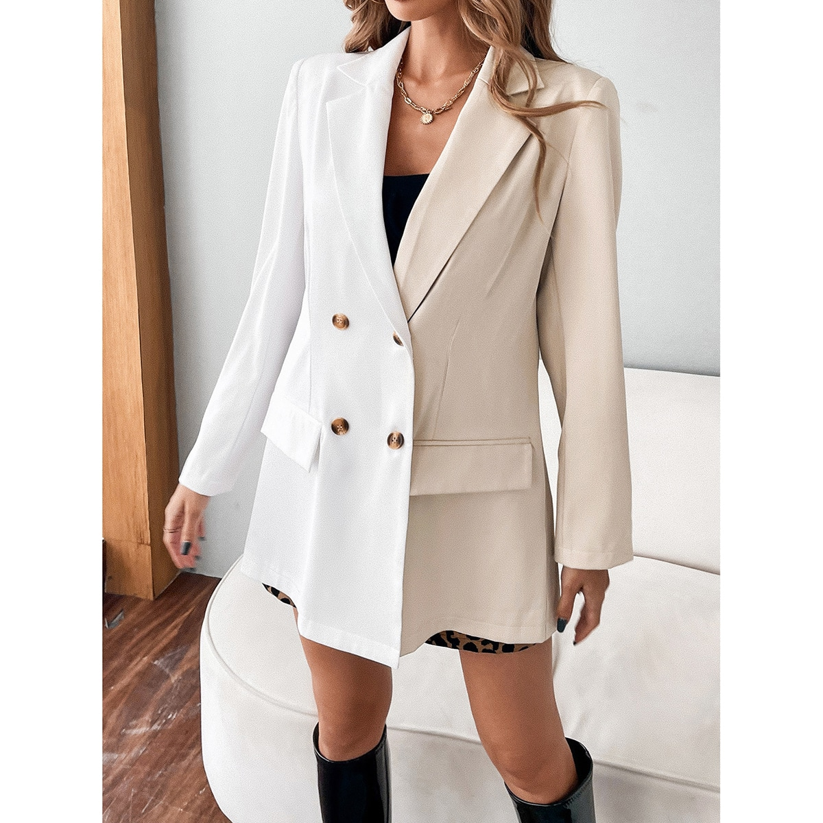 Solid Double Button Pocket Blazer