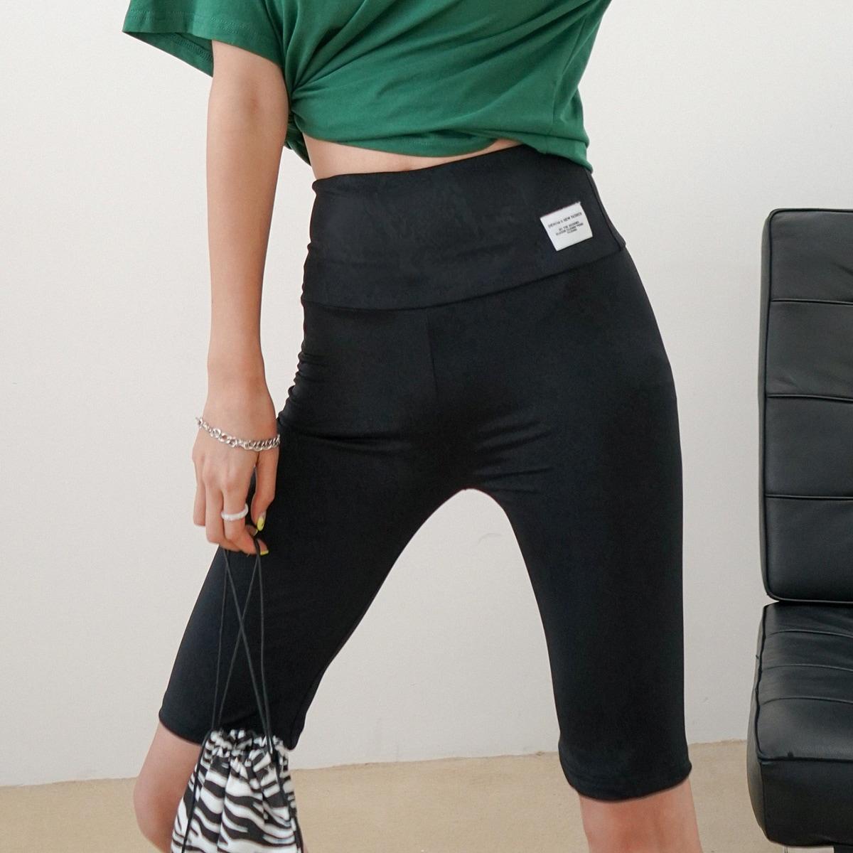 Letter Patched Biker Shorts
