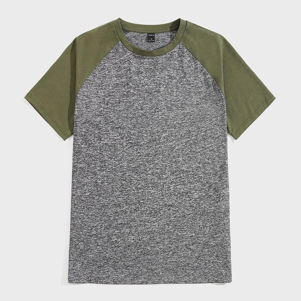 Мужская контрастная футболка с рукавом реглан