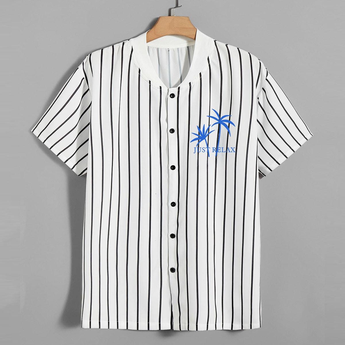 Пуговица буква Полосатый Повседневный Мужские рубашки