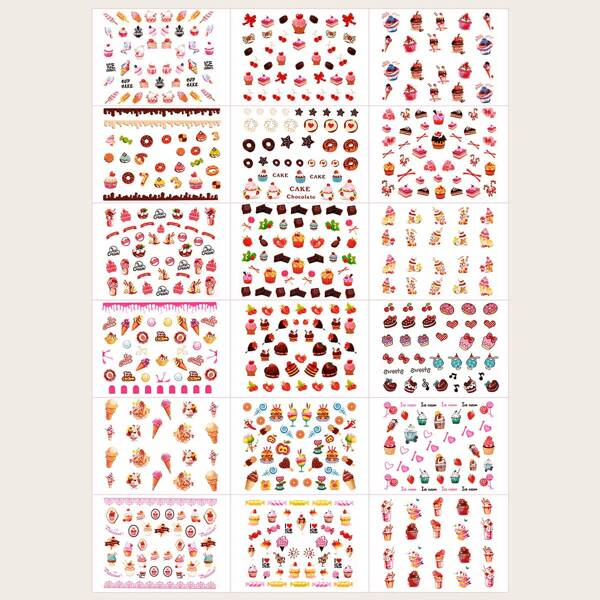 18sheets Cartoon Cake Pattern Nail Art Sticker, Multicolor
