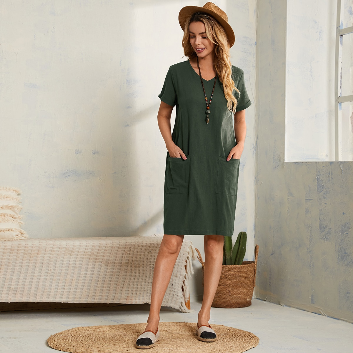 Dual Pocket V Neck Tunic Dress, SHEIN  - buy with discount