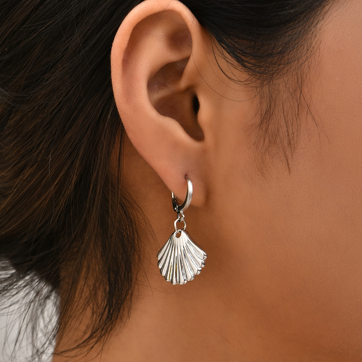 Moon & Shell Drop Earrings, SHEIN  - buy with discount
