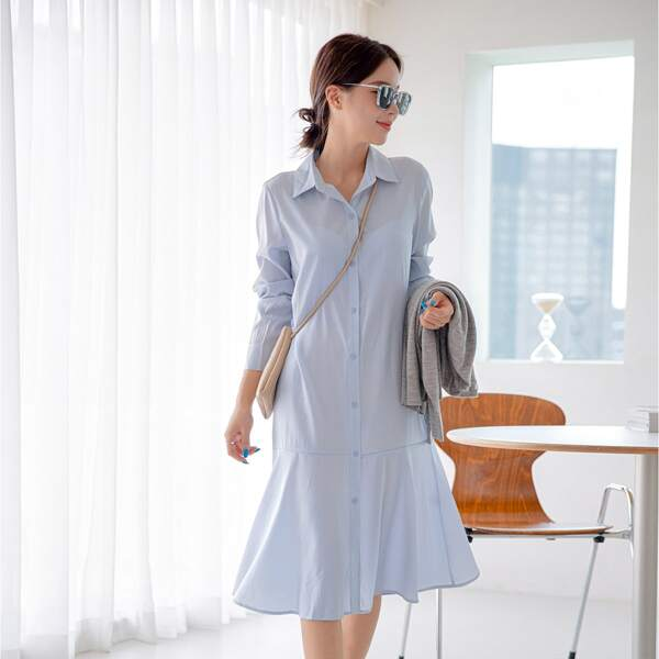 Ruffle Hem Button Through Smock Dress, Dusty blue