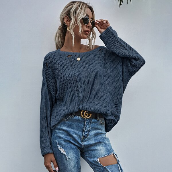 Drop Shoulder Ripped Sweater, Navy blue