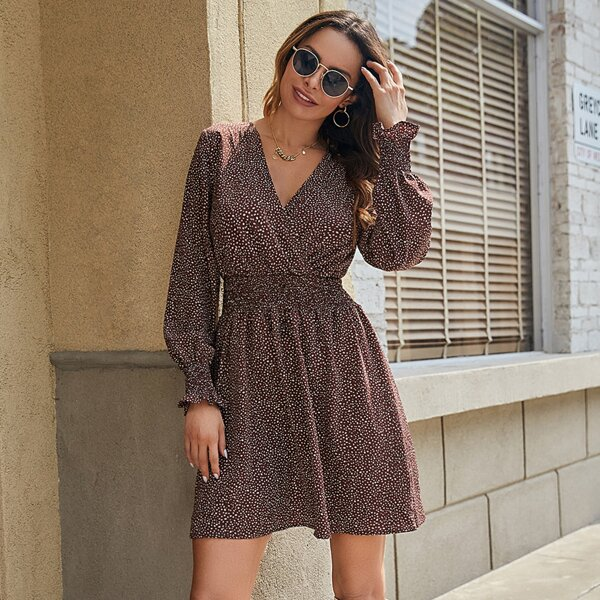 Surplice Neck Dalmatian Print Flounce Sleeve Shirred Waist A-Line Dress, Coffee brown
