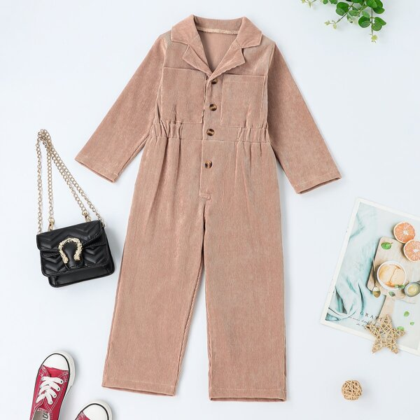 Toddler Girls Pocket Patched Button Front Corduroy Jumpsuit, Apricot
