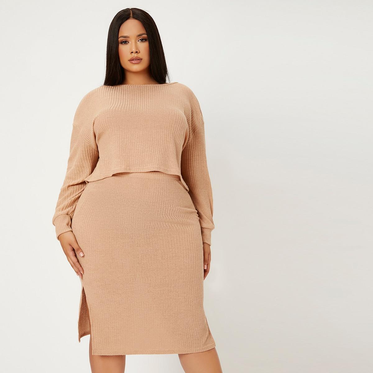 Plus Ribbed Knit Drop Shoulder Top & Split Hem Skirt, SHEIN  - buy with discount
