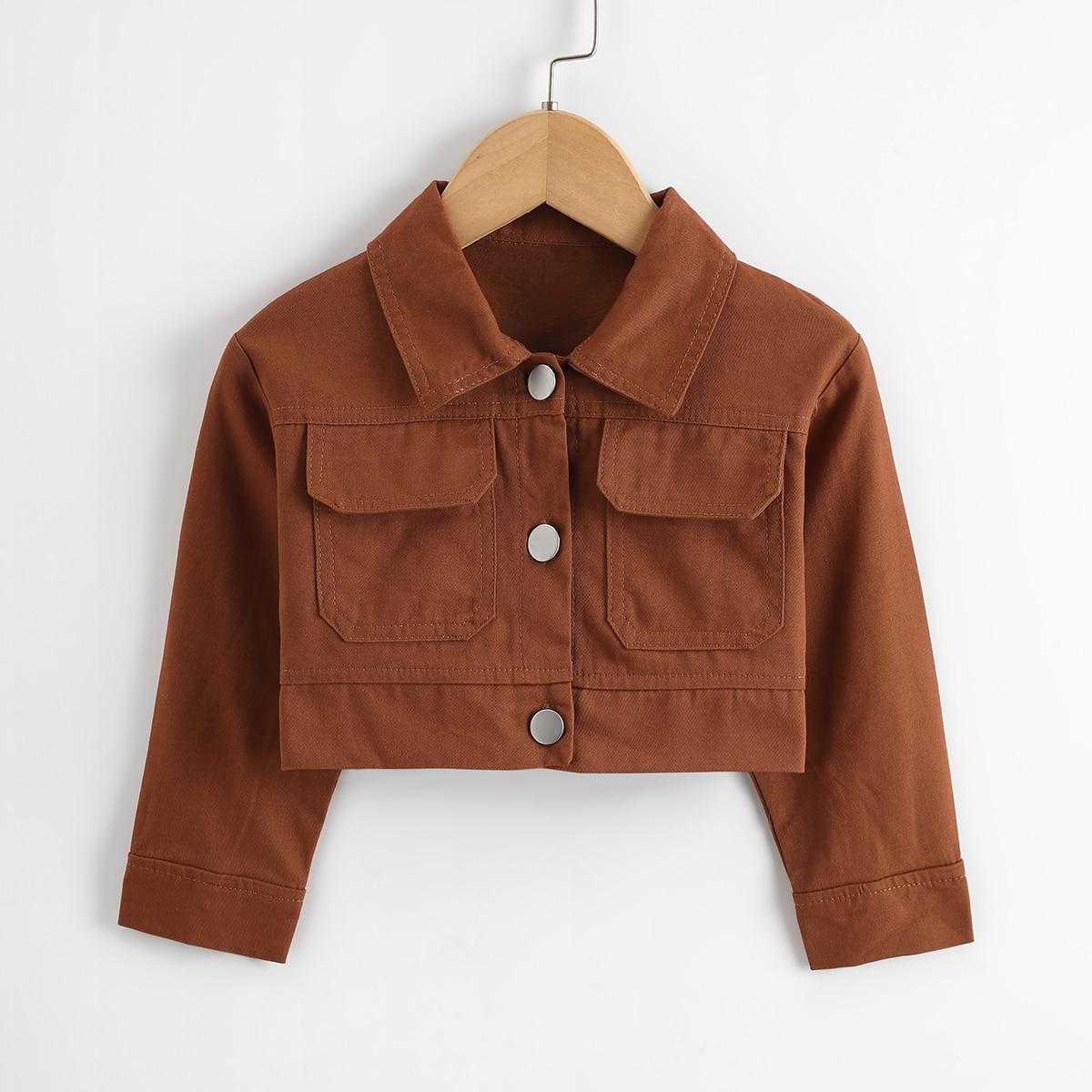 Toddler Girls Flap Pocket Crop Jacket