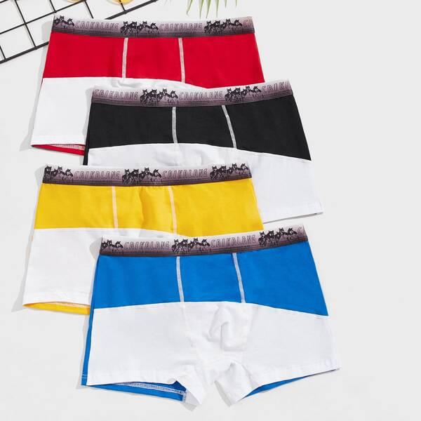 Men 4pcs Wolf & Letter Graphic Color Block Boxer Brief, Multicolor