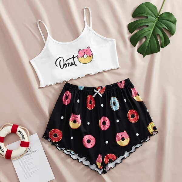Donuts And Letter Graphic Lettuce Trim Cami PJ Set, Black and white