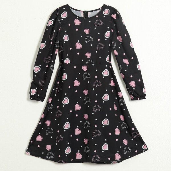 Girls Polka Dot Heart Print Blouson Sleeve Dress, Black