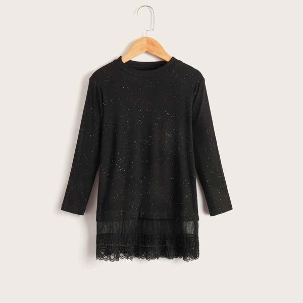 Girls Polka Dot Print Contrast Lace Dress, Black