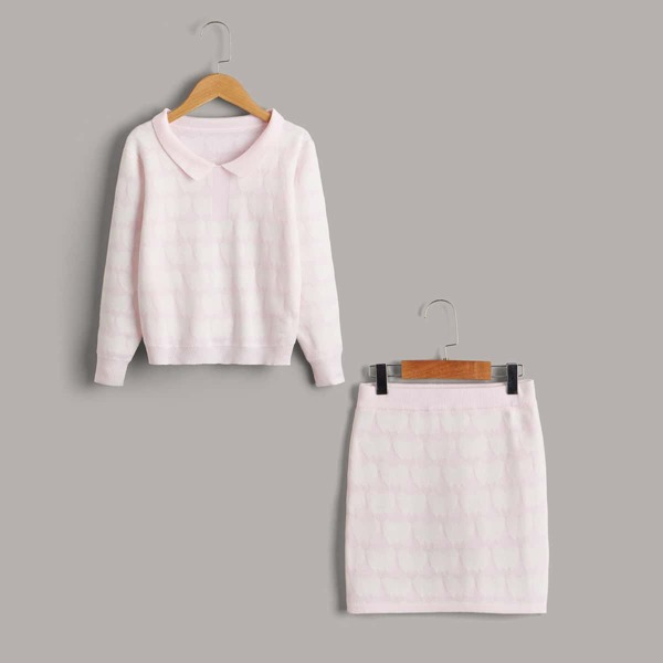 Girls Cloud Pattern Sweater & Knit Skirt, Multicolor