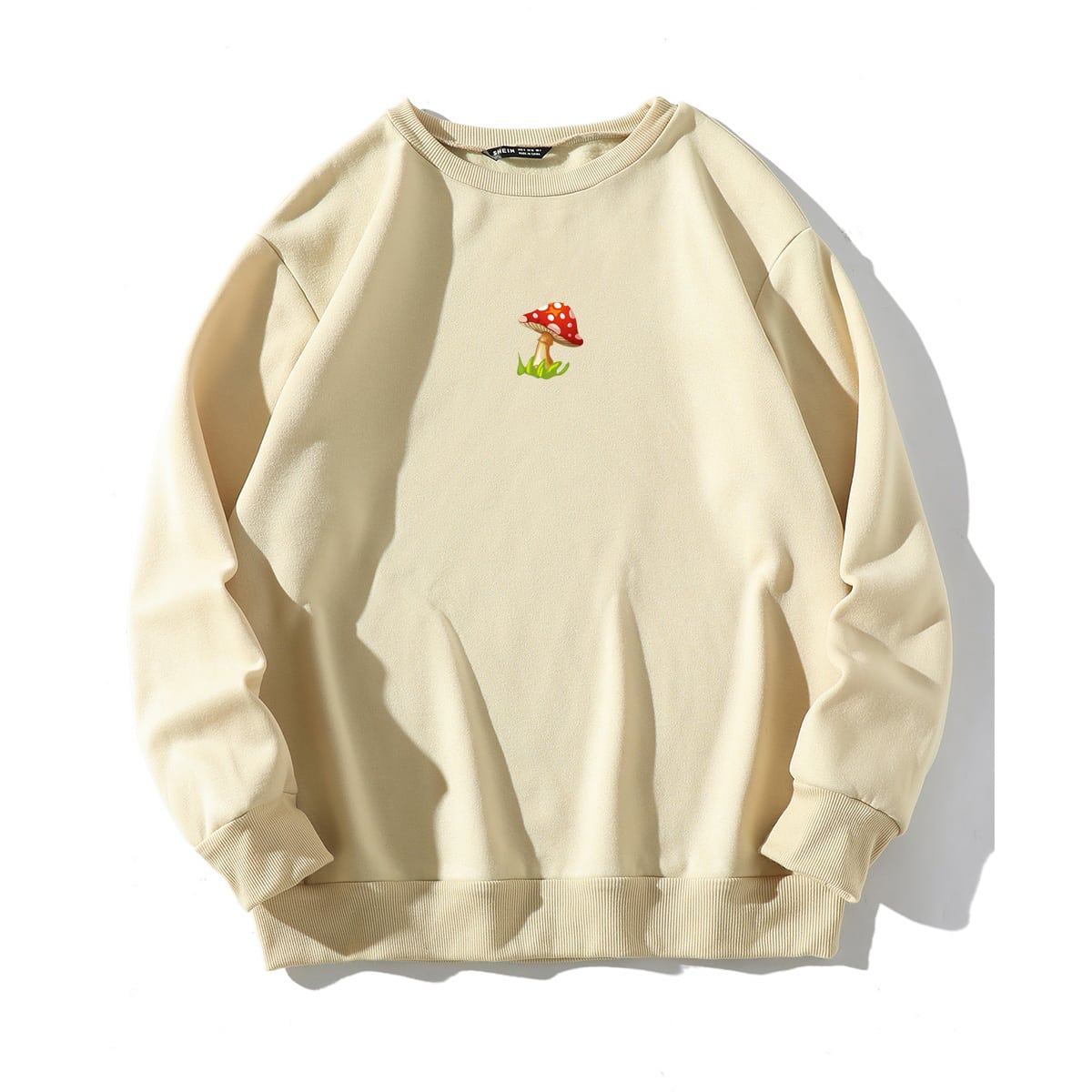 Mushroom Print Round Neck Sweatshirt, SHEIN  - buy with discount