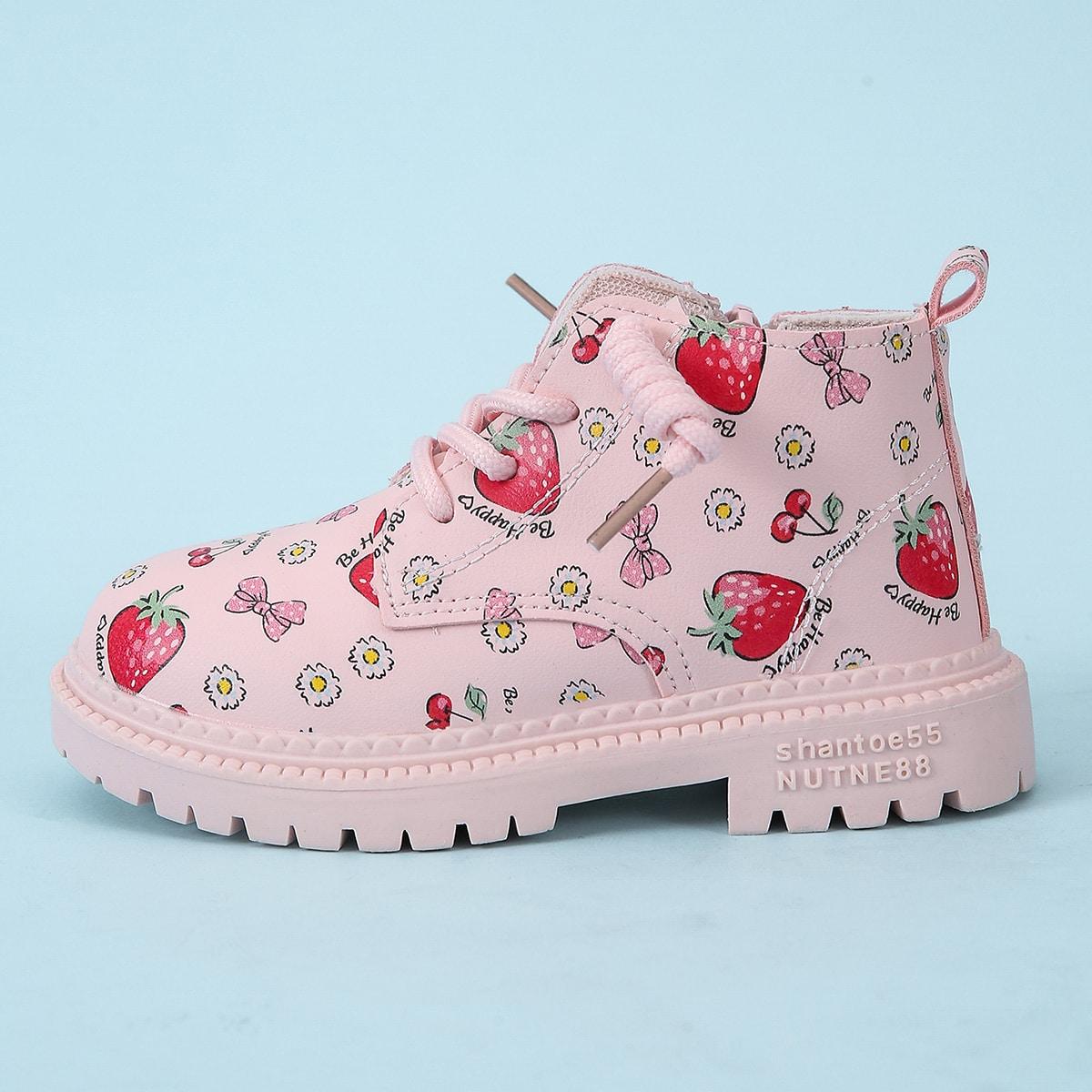 Ботинки с мультипликационным узором для девочек SheIn sk2107270305537473