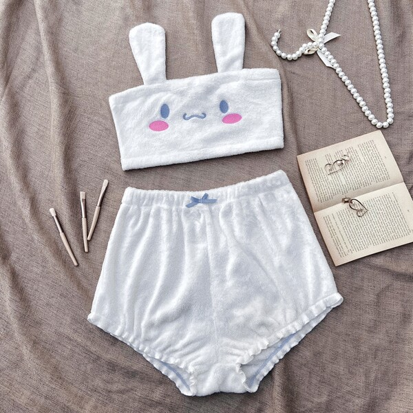 Cartoon Embroidered Flannel Tube Top & Bow Detail Shorts PJ Set, White