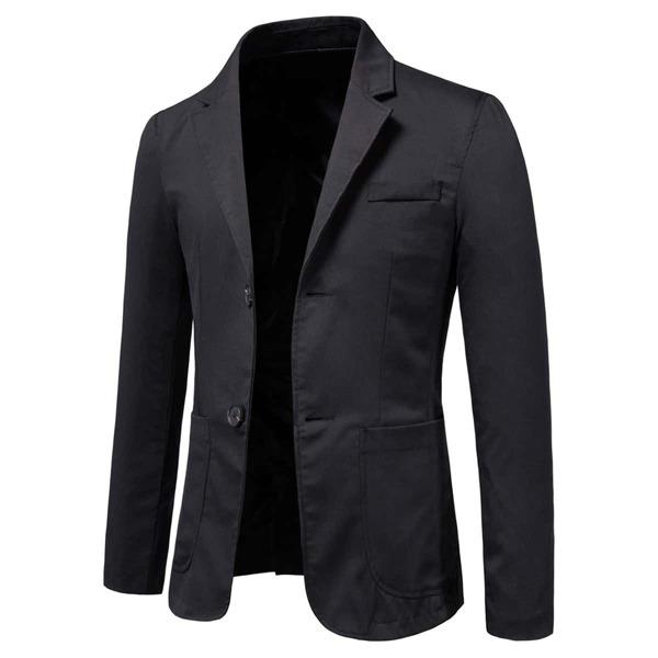 Men Double Pocket Single Breasted Blazer, Black