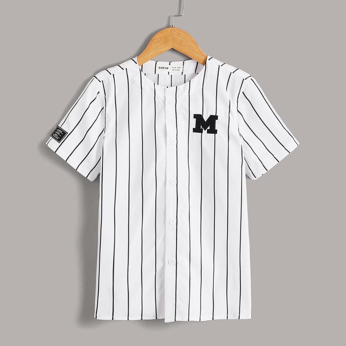 Рубашка с текстовой вышивкой в полоску для мальчиков