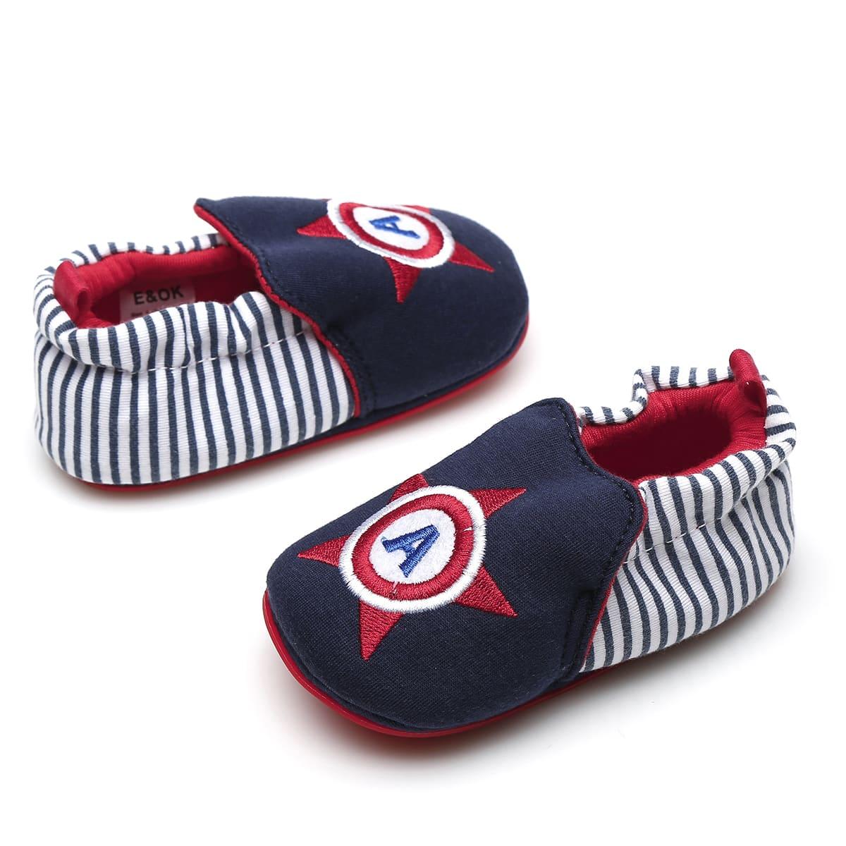Туфли на плоской подошве в полоску с вышивкой для мальчиков от SHEIN