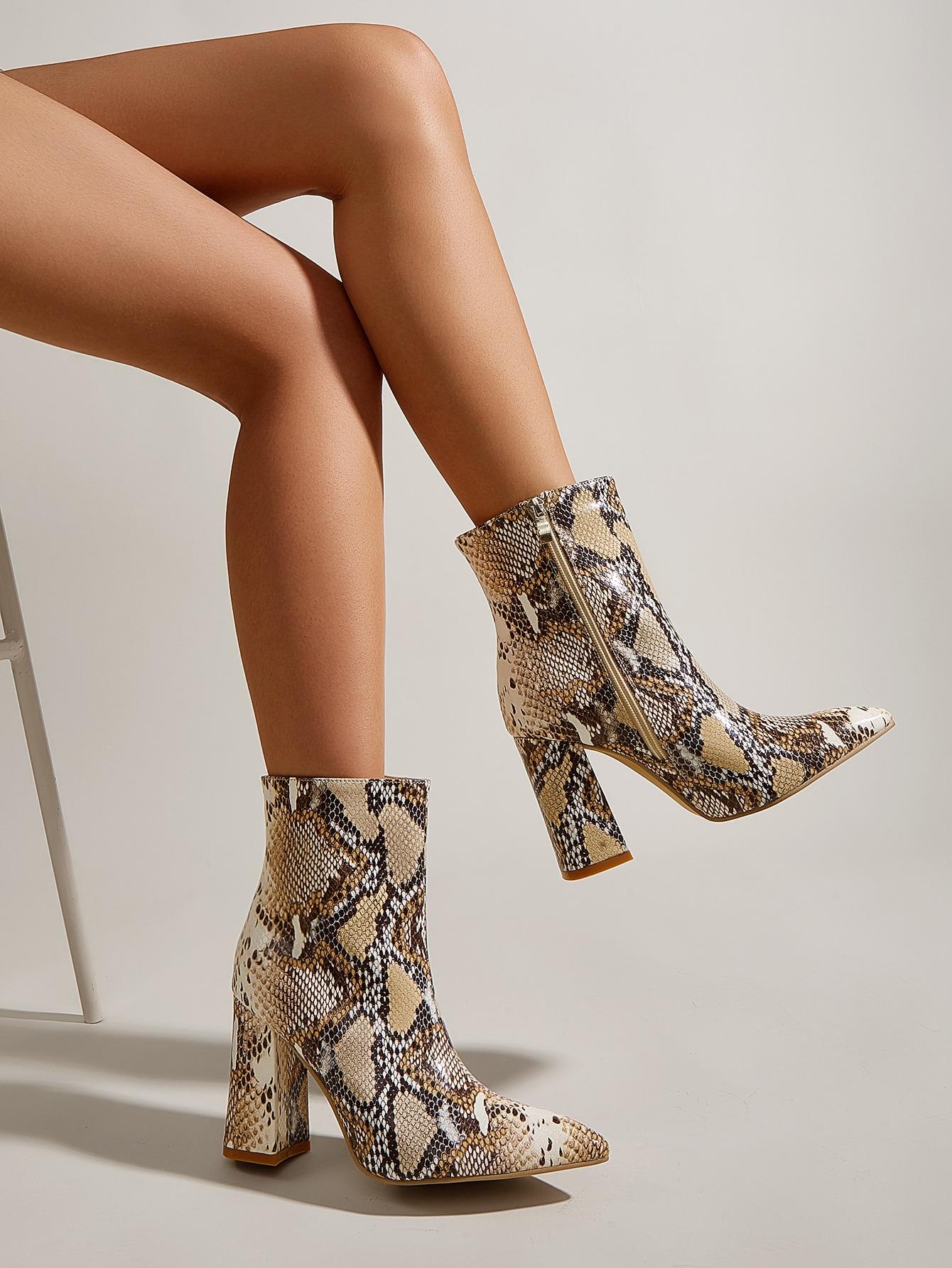 Snakeskin Print Point Toe Chunky Boots