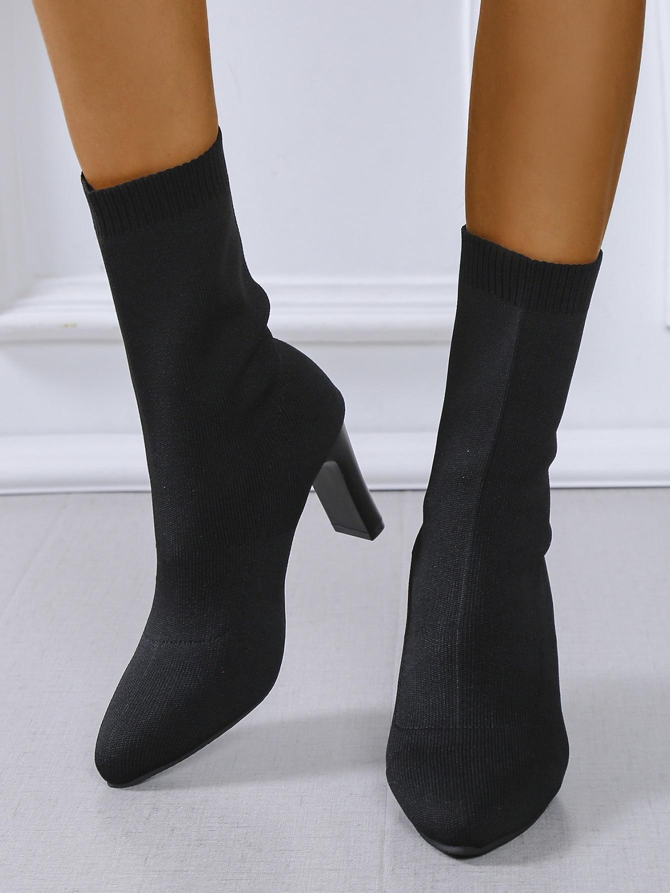 Point Toe Chunky Heeled Sock Boots