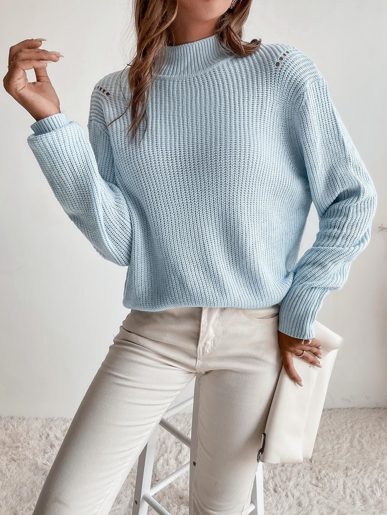трикотажный Одноцветный Повседневный Женские свитераsw2107078751852215