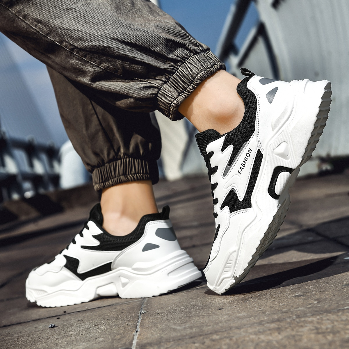Men Two Tone Mesh Panel Sneakers, SHEIN  - buy with discount