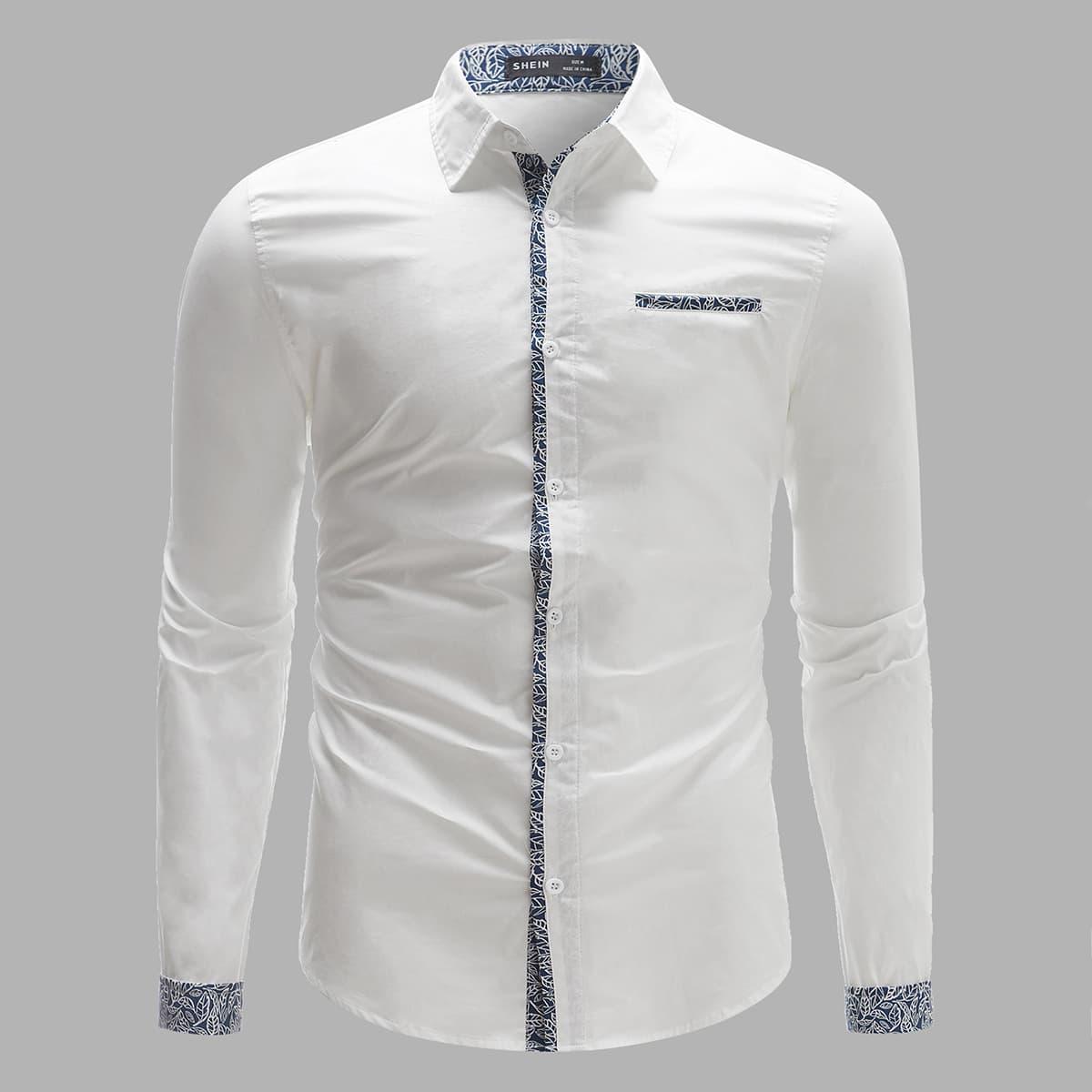 Мужская рубашка с лиственным рисунком