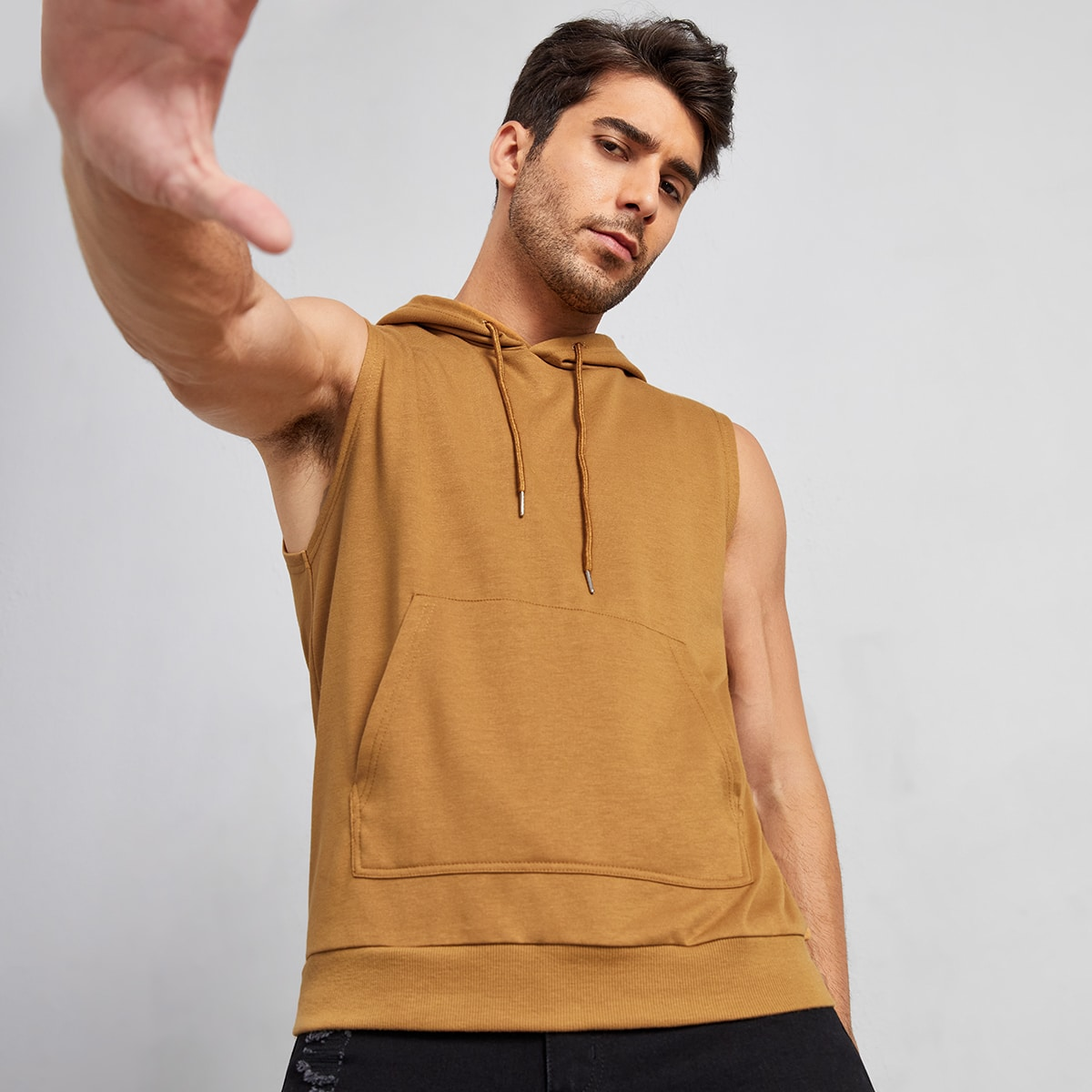 Men Pocket Front Sleeveless Drawstring Hoodie, SHEIN  - buy with discount