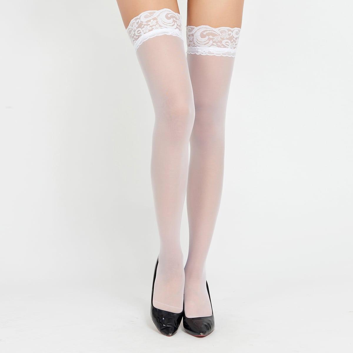 Чулки прозрачный выше колена сетчатый