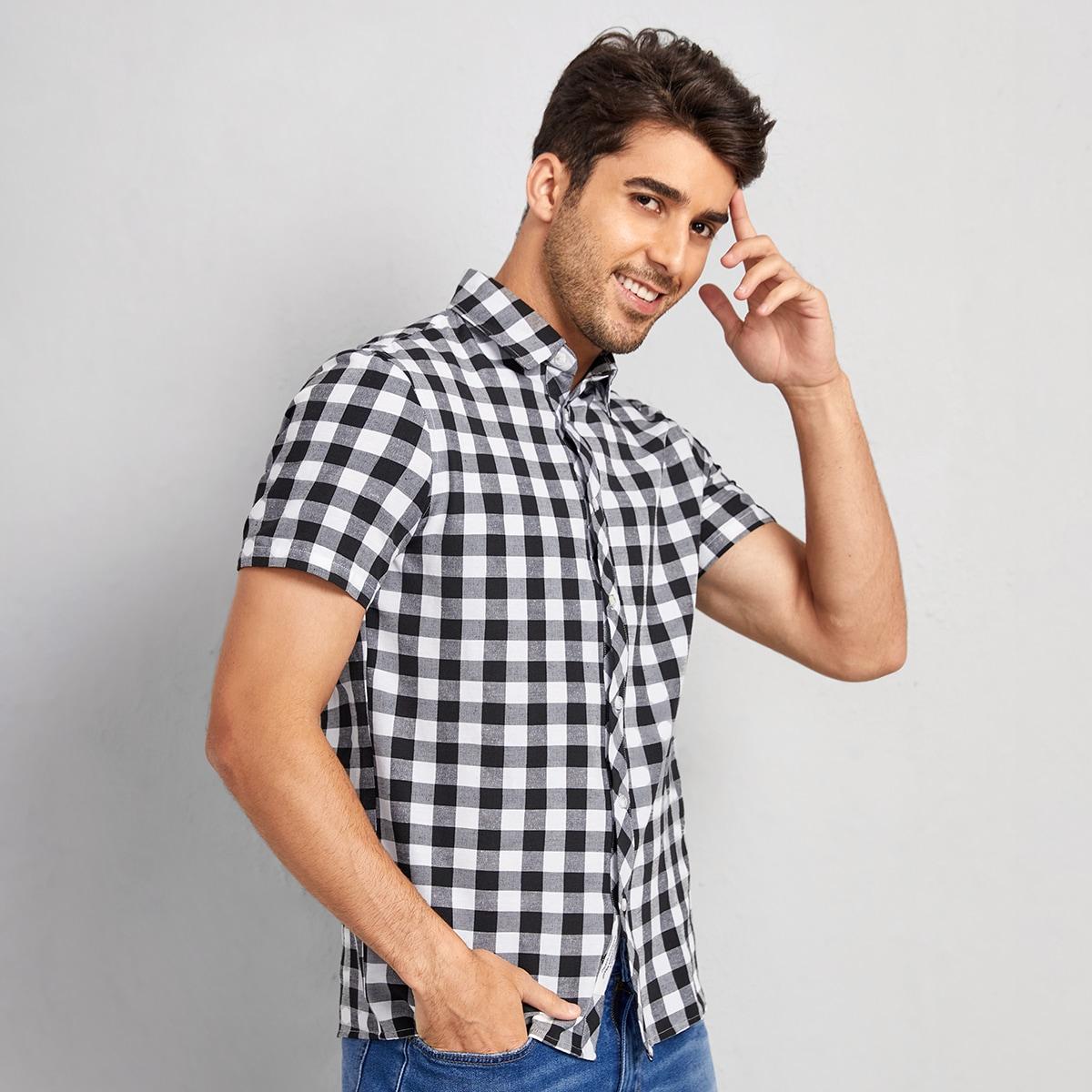 Мужская рубашка в клетку SheIn sm2106236949438331