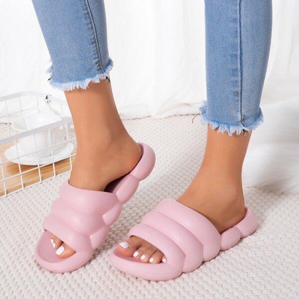 Minimalist Textured Open Toe Slides, Pink