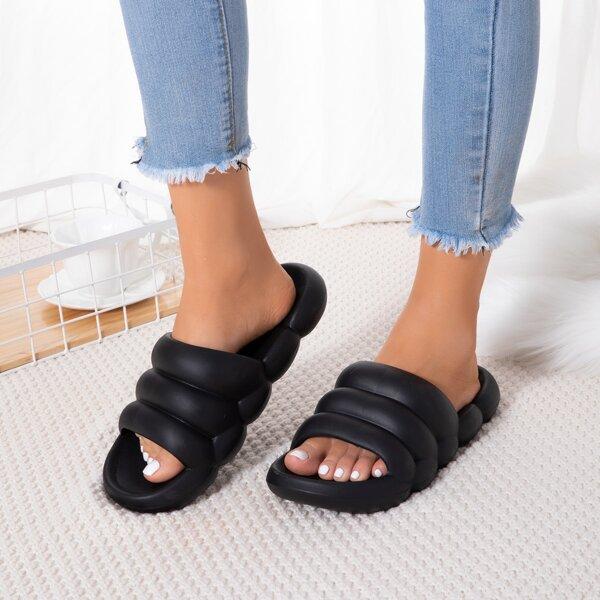 Minimalist Textured Open Toe Slides, Black