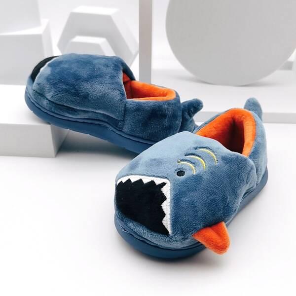 Toddler Boys Cartoon Design Slippers, Navy blue