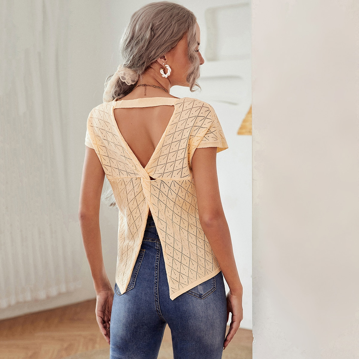Solid Cutout Twist Back Pointelle Knit Top