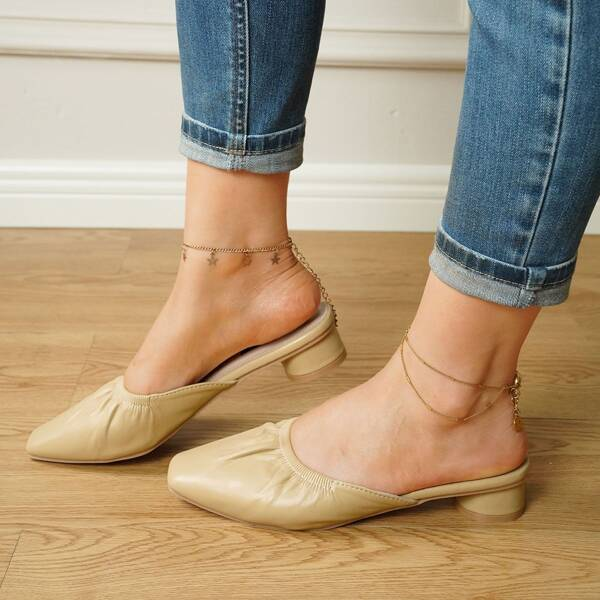 Solid Ruched Design Chunky Mules, Mustard yellow