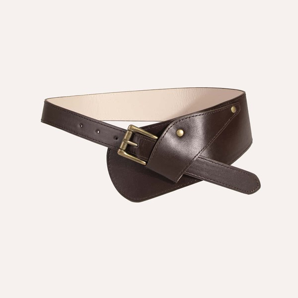 Square Buckle Corset Belt, Coffee brown