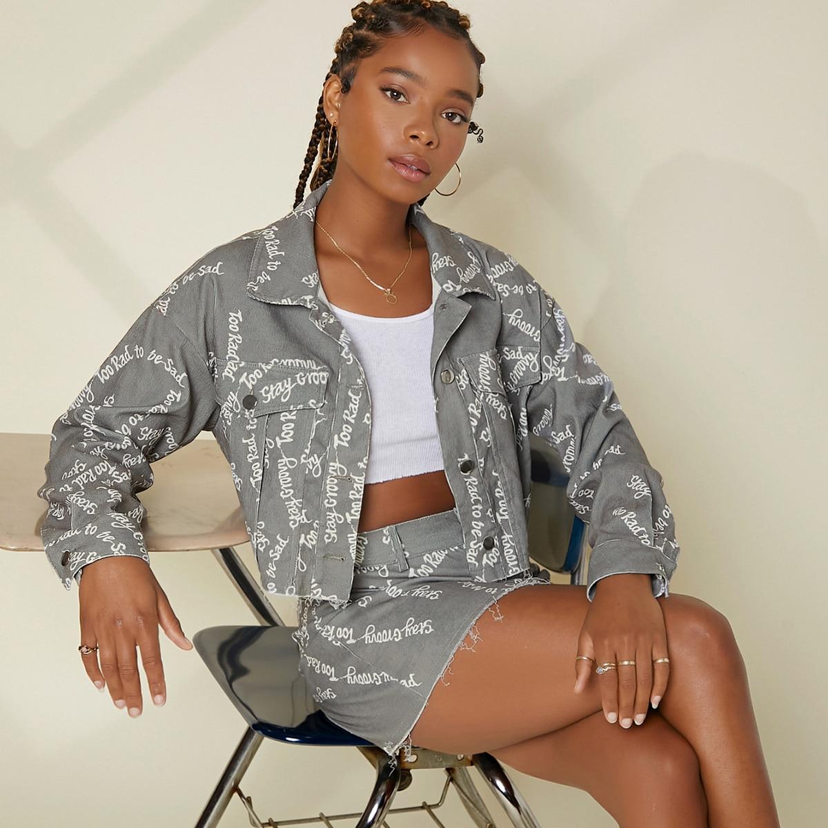 Куртка с текстовым принтом и юбка без камзола SheIn swtwop07210617086