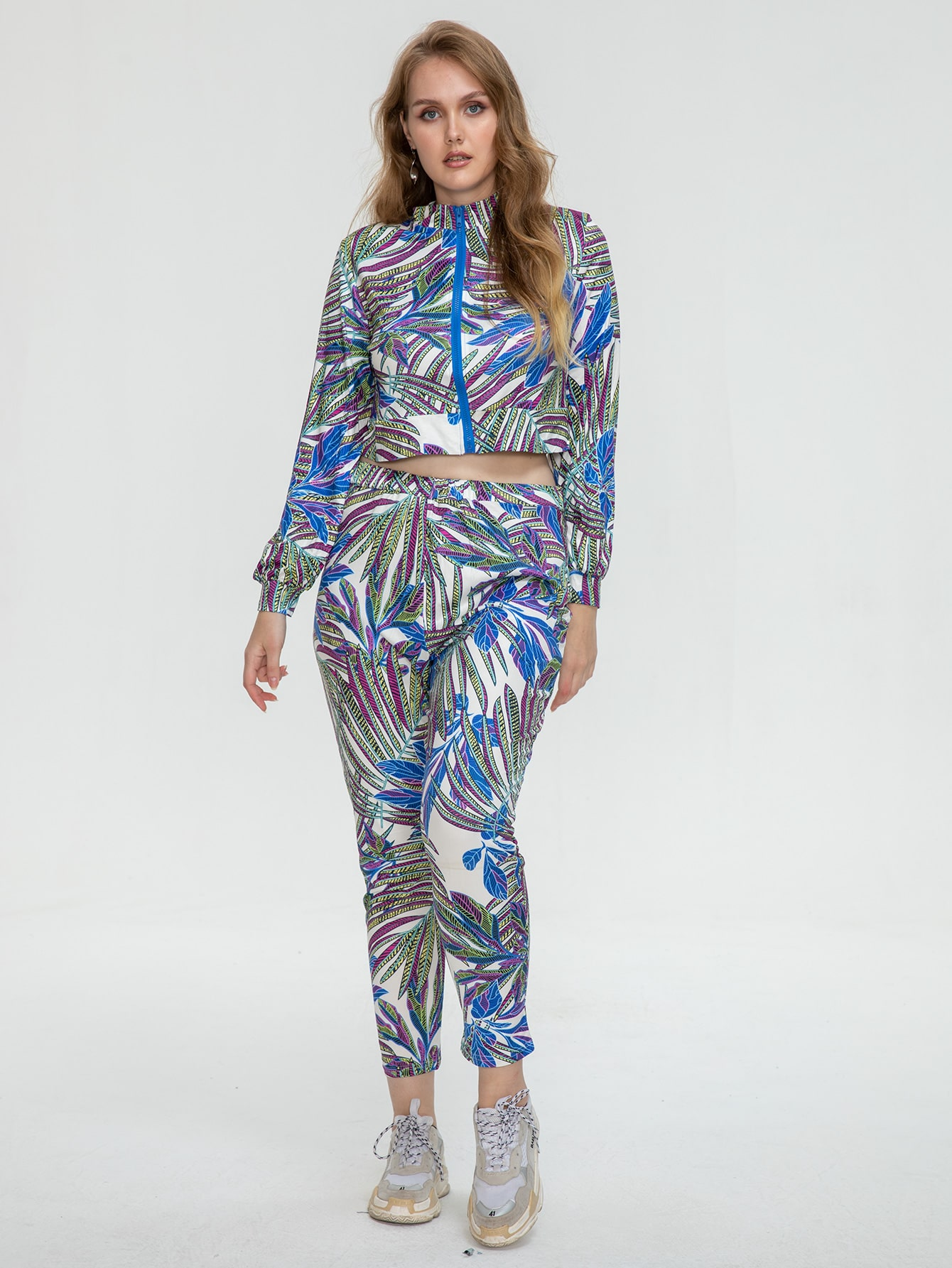 Plus Tropical Print Jacket & Leggings Set