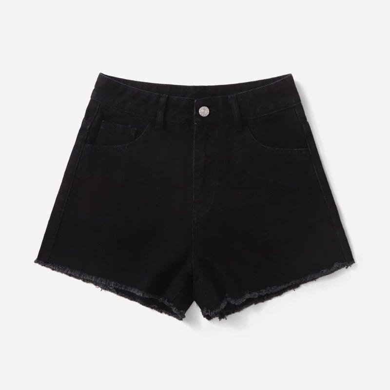 Fire Print Denim Shorts, Black
